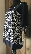 Alfred Dunner Womens Navy Blue White Floral Embellished Neck Top Size M