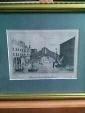 Venice Etching Velato - Entitled veduta del ponte di rialto in venexia + seal