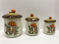 "Sears and Roebuck ""Merry Mushroom"" Canister Set Of 3."