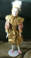 """Vintage 18"""" Pierrot Doll Porcelain Harlequin Jester Gold Lamé With Stand"""