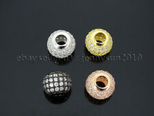 Four Rows Zircon Gemstone Pave Big Hole Rondelle Bracelet Connector Charm Beads