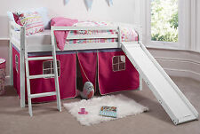 Cabin Bed Mid Sleeper Bunk with Slide Pink Tent 6007WHITE