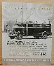 1937 magazine ad for GMC trucks - Low priced Cab-Over-Engine truck graphic