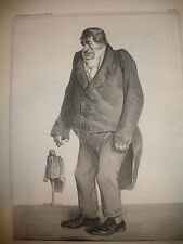 LISTED FRENCH HONORE DAUMIER HAND SIGNED NUMBERED ORIGINAL LITHOGRAPH CARICATURE