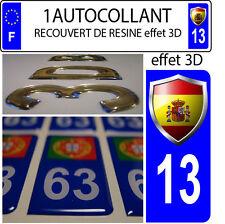 1 adesivo targa auto TUNING 3D RESINA STEMMA SPAGNA DIPARTIMENTO 13