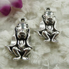 Free Ship 120 pieces Antique silver dog charms 25x15mm #478