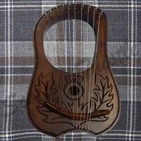 New Engraved Lyre Harp 10 Metal Strings/Lyra Harp 10 Strings Free Case +Key