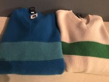 Pair Of Gap Sz S/P Sweaters V-neck Long Sleeve Lambswool Ivory Blue Women's NEw