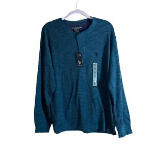 US POLO ASSN  Henley Shirt Teal Blue Official Licensed Product Sz XL