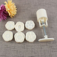 CW_ 6 Flowers Stamps Pastry Moon Cake Mold Mould Cookies Mooncake Decor Tool Gra