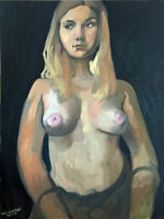 "Nude Female Girl Woman Portrait Original Oil Painting, 18""x24"" Signed"