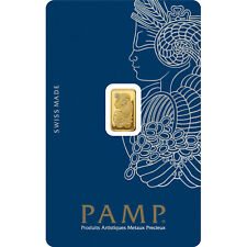 1g gold bullion bar Pamp new, sealed with certificate 999.9 ct gold.