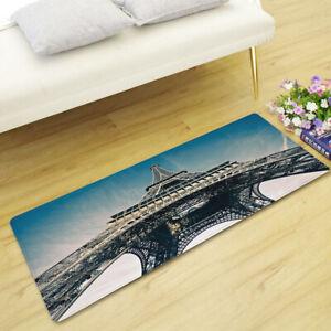 Paris Eiffel Tower Sunflower Floral Waterfall Rectangle Rug Floor Door Mat Gift