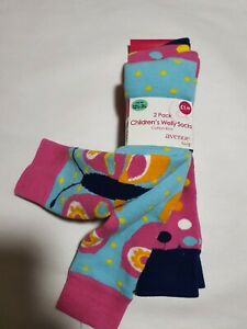 Children's Welly Socks 2 pack Cotton Rich UK 12 1/12 - 3 1/2 New Butterfly