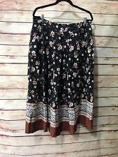 Karen Scott Skirt Size L/XL BLACK BROWN Floral Career Long Modest Pleated