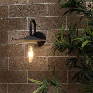 Minisun Barn Style Lantern Garden Wall Light IP44 Black Metal Clear Glass Shade