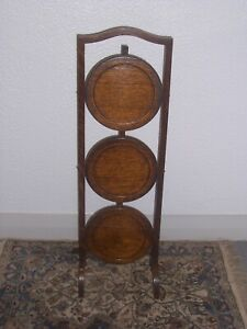 Vintage Art Deco Wooden 3 Tier Cake Stand / Plant Stand / Display 99p no reserve