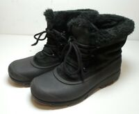 Sorel Women's Black Suede Leather Thinsulate Faux Fur Lined Boots Size 9 Winter