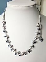 925 Sterling Silver Grey Freshwater pearl Necklace with gemstone