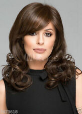 HESW35  new style medium natural hair dark brown curly wigs for modern women wig