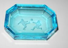 Vintage 3x2 Crystal Tray Dish Cup Tinted Blue Etched Soccer Ball Player Scene