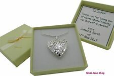 Silver Plated Heart Photo Locket Necklace - Personalised Box Bridesmaid Mother