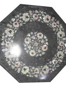 """15"""" Green Marble Coffee corner Table Top Marquetry Multi Stone Inlay Work"""