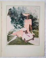 """Marcel Vertes Hand Tinted Lithograph Titled """"Harlem Debutantes"""""""