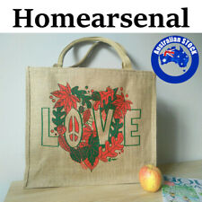 JuteShopping Bags Reusable Shopping Shoulder Bags Floral Love Eco-Bag Gift AU