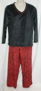 Liz Claiborne Fleece Pajama 2 Pc Set Red Black Soft Plus Women Size XXL