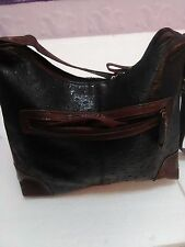 Stylist GAL Faux  Croc Pebble Leather Black & Brown Shoulder Strap Bag  NEW!