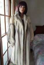Vintage Bridal Canadian Tourmaline Ivory Cross Mink Fur Coat Full Length Sz14-16