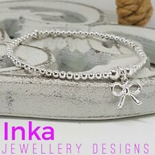 Inka Sterling Silver full beaded bracelet with a 925 silver Pretty Bow charm