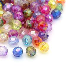 500 Novità Misti Distanziatori Perle Perline Sfaccettate in Acrilico 6mm Dia.