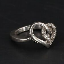 Love Cocktail Ring Size 7 - 5g Sterling Silver - Cz Cubic Zirconia Curved Heart