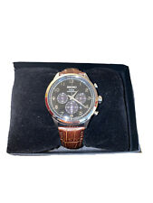 Authentic Seiko Core Men's Solar Chronograph Brown Leather Watch SSC565