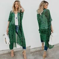 NEW Women's Vintage Boho Long Cardigan Coat Kimono Blouse Chiffon Cover up Tops