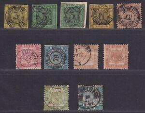 Baden German State 1851-1868 11 Stamps Presentable Space Fillers SCV $265.50
