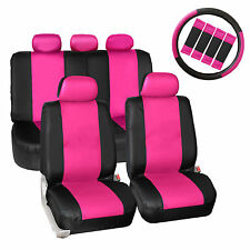 Pink Black Synthetic Leather Car Seat Covers Set 1Steering Wheel Cover 4 Pads