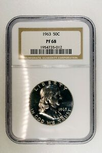 1963 NGC PF 68 Franklin Silver Half Dollar, Gem Proof 68 Silver 50c Cent Coin