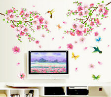 Large Cherry Blossom Flower Butterfly Tree Wall Stickers Art Decal Home Decor