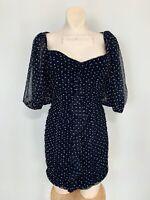 NWT ZARA WOMEN BLACK POLKA DOT DRESS Short gathered detail size M #C1171 7455