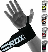 RDX Weight Lifting Wrist Straps Elasticated Gym Wraps Bodybuilding Grip Support