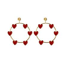 Heart Enamel Pendant Dangle Earrings Jewel Cw_ Ke_ Hk- Fashion Women Circle Love