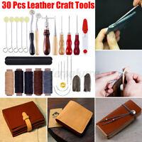 30 Stück Leder Werkzeug Polsternadel Nähen Bohren Handwerk Nähnadeln Groover Set