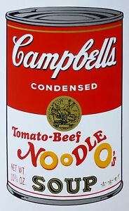 ANDY WARHOL CAMPBELLS' TOMATO BEEF NOODLE O's SOUP II SUNDAY B.MORNING 143/1500