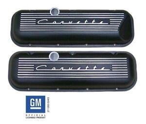 Corvette 396 427 454 502 Big Block Stock Valve Covers Raised Logo Black PML