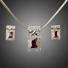 New Sparkly Dark Red Zircon Pendant Chain Necklace Earrings Bridal Jewellery Set