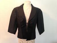 NWT TALBOTS Petites Black Silk Cotton Blend Dress Jacket Size 12