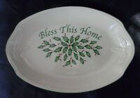 """Lenox Holiday """"Bless This Home"""" Serving Tray, Cream with Green Trim 11 inches"""
